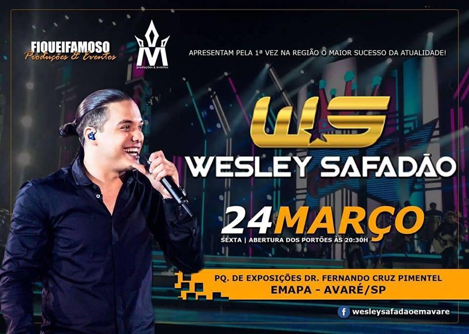 Wesley Safadão fará show em Avaré no dia 24 de março
