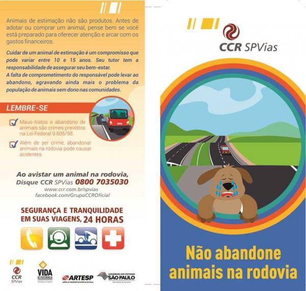 CCR SPVias e Artesp realizam campanha para combater o abandono de animais nas rodovias