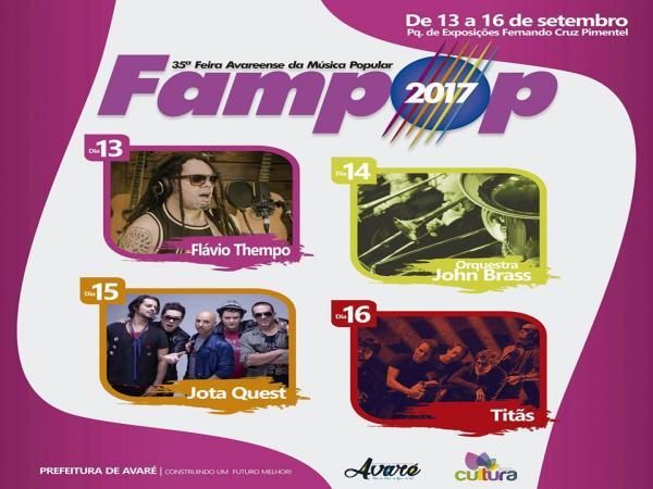 Titãs e Jota Quest estão entre as atrações da FAMPOP 2017