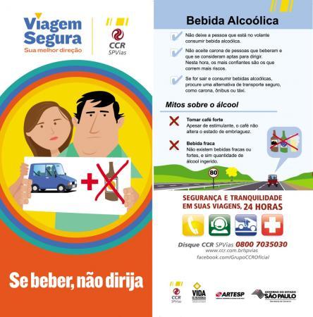 """CCR SPVias realiza campanha com o tema """"Se beber, não dirija"""""""