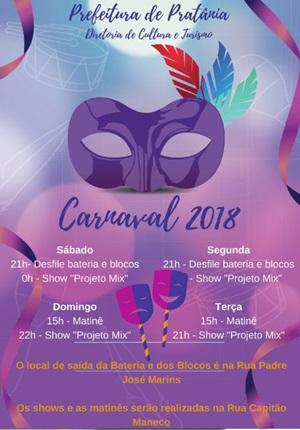 Pratânia será uma das únicas cidades da região a ter folia de Carnaval