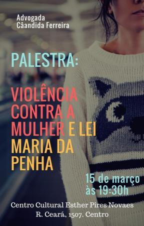 Violência contra a mulher é tema de palestra no Centro Cultural