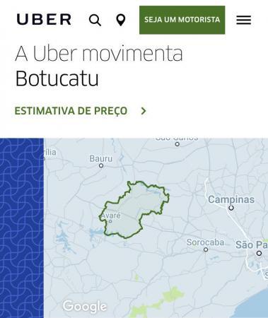 Mesmo não operando de fato em Avaré, Uber pode vir a receber pedidos de viagens de usuários locais