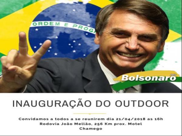 Será inaugurado hoje o Outdoor em apoio a Bolsonaro em Avaré