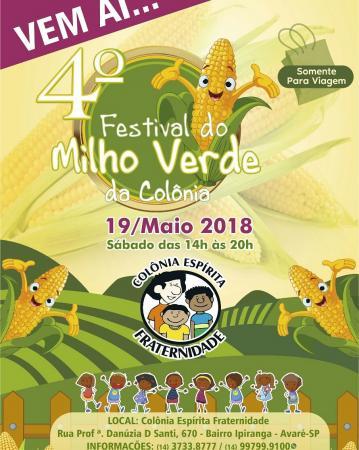 Colônia Espírita Fraternidade vai realizar o festival do Milho em Avaré