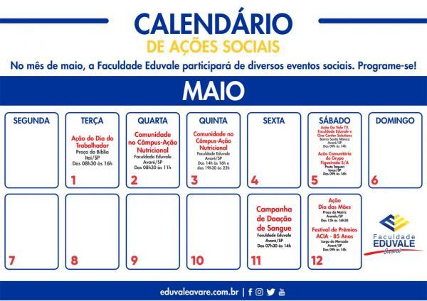 Faculdade Eduvale de Avaré participa e promove diversas ações sociais em maio