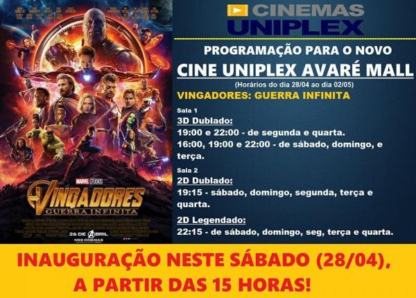 Inaugura hoje o Novo Cine Uniplex em Avaré