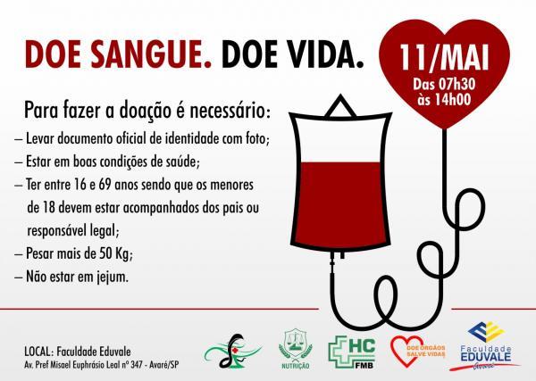 Faculdade Eduvale promoverá mais uma campanha de doação de sangue