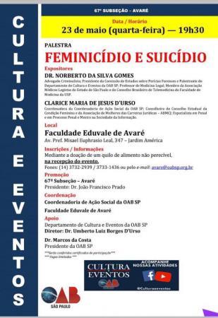 Palestra na Eduvale vai abordar suicídio e feminicídio