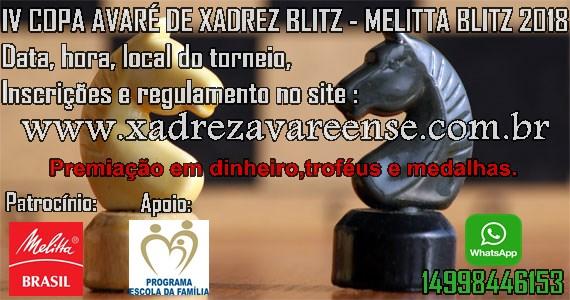 Xadrez Avareense irá realizar a IV Copa Avaré - Melitta Blitz 2018