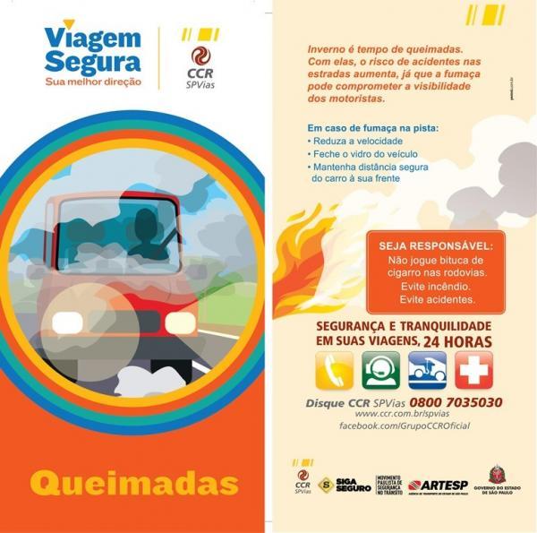 CCR SPVias realiza campanha para evitar queimadas às margens das rodovias