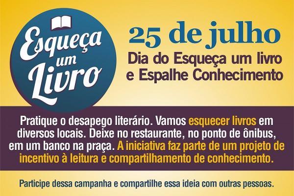 """Biblioteca convoca para campanha """"Esqueça um livro e espalhe conhecimento"""""""