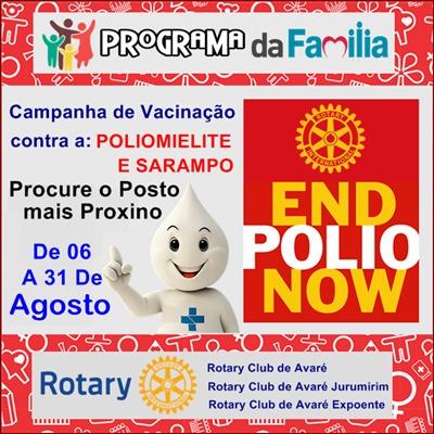 Rotarianos avareenses se unem em prol de vacinação contra a poliomielite