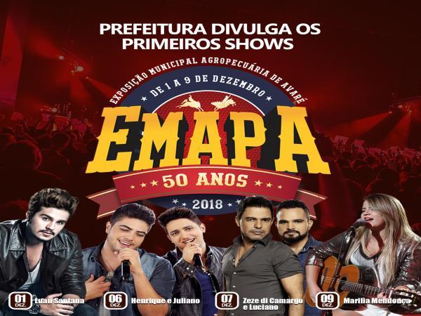 Prefeitura divulga os primeiros shows da Emapa 2018