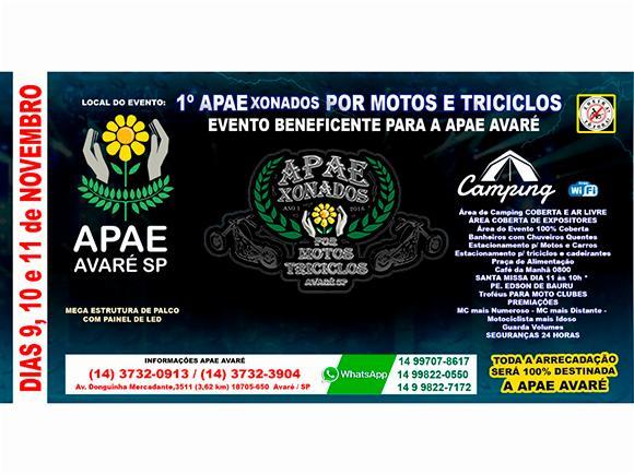 Avaré recebe 1° APAExonados por motos e triciclos