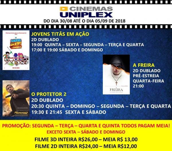 Jovens Titãs em Ação, O Protetor 2 e A Freira em cartaz no Cine Uniplex Mall
