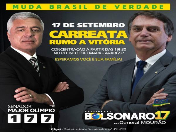 Apoiadores de Bolsonaro realizarão carreata em Avaré hoje