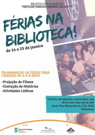 Biblioteca Municipal oferece programa de férias