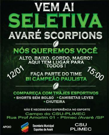 Avaré Scorpions faz seletiva para time