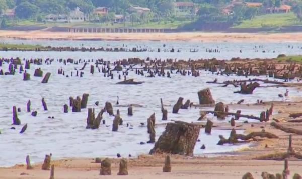 Nível da represa de Jurumirim é o mais baixo dos últimos 25 anos — Foto: Reprodução